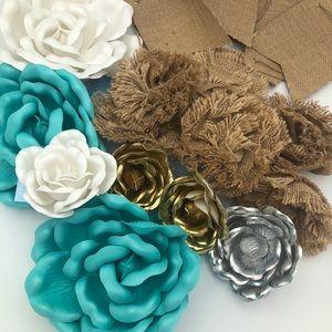 Hobby Lobby Accents - Shabby Style Teal & Burlap Flowers Banner